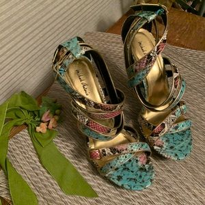 Michael Antonio Multi-Color Snakeskin Sandals Sz11